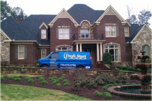 Picture of Marietta Carpet cleaning van in front of one of our high end customer's home.